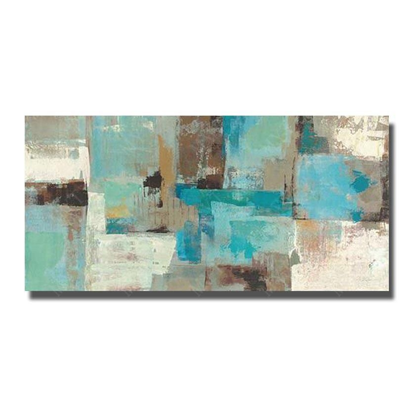 Hand Made Abstract Oil Painting On Canvas Wall Pictures For Living In Blue And Brown Canvas Wall Art (Photo 14 of 20)