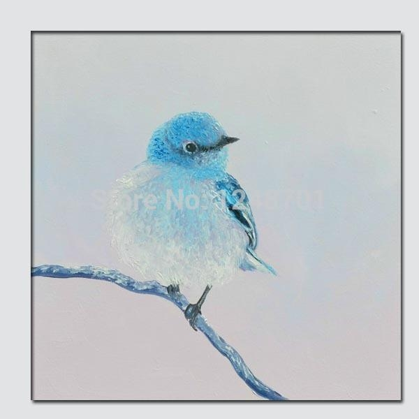 Hand Pained Blue Bird Oil Painting, Animal Art, Kids Room Wall Pertaining To Birds Canvas Wall Art (Image 13 of 20)