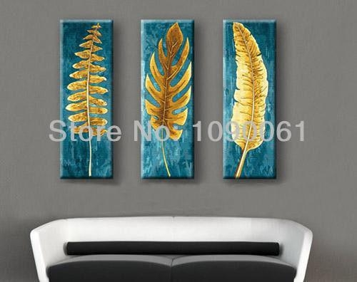 Hand Painted 3 Piece Canvas Wall Art Abstract Modern Gold Leaves Intended For Leaves Canvas Wall Art (Image 6 of 20)
