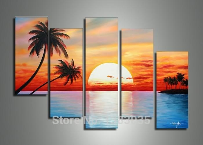 Hand Painted 5 Piece Sailing Boats Landscape Painting On Canvas Regarding Abstract Landscape Wall Art (Photo 5 of 20)