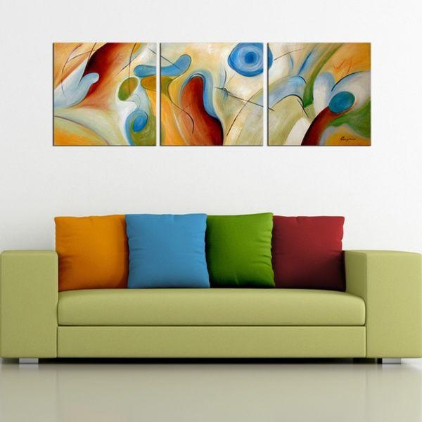 Hand Painted Abstract' 3 Piece Gallery Wrapped Canvas Art Set With Overstock Abstract Wall Art (View 4 of 20)