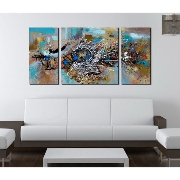 Hand Painted 'abstract 491' 3 Piece Gallery Wrapped Canvas Art Set For Overstock Abstract Wall Art (Image 9 of 20)