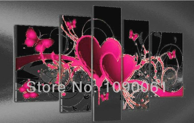 Hand Painted Abstract Heart Paintings Butterfly Decoration Modern Regarding Abstract Heart Wall Art (Image 9 of 20)