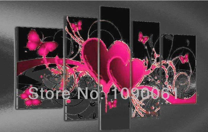 Hand Painted Abstract Heart Paintings Butterfly Decoration Modern With Hearts Canvas Wall Art (Image 8 of 20)
