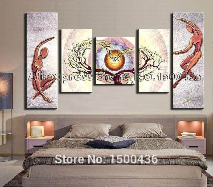 Hand Painted Abstract Heart Tree Lovers Landscape Oil Painting With Regard To Abstract Heart Wall Art (Image 10 of 20)