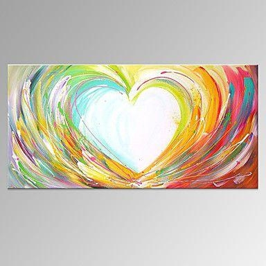 Hand Painted Abstract Horizontal, Modern Canvas Oil Painting Home Intended For Abstract Heart Wall Art (Image 13 of 20)