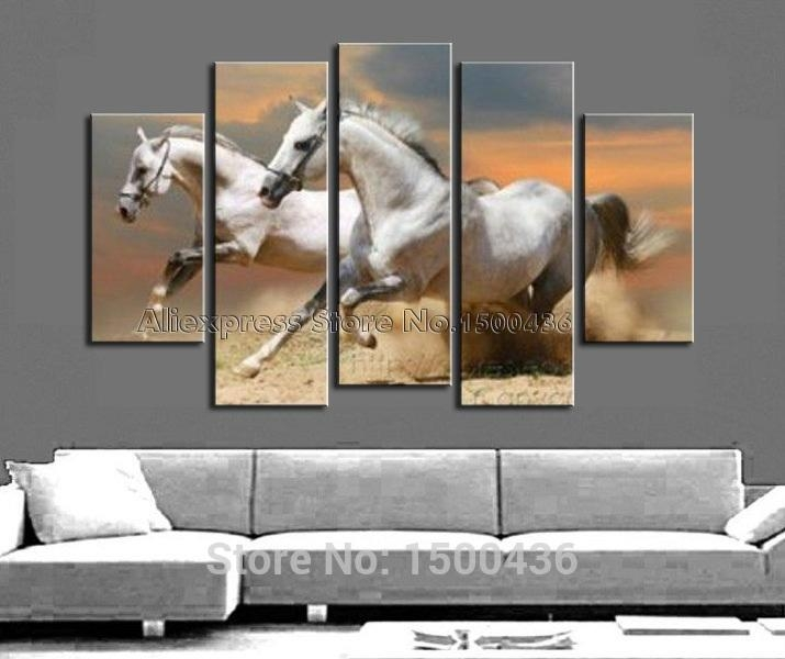 Hand Painted Abstract Horse Oil Painting Canvas White Animal In Abstract Horse Wall Art (Image 8 of 20)