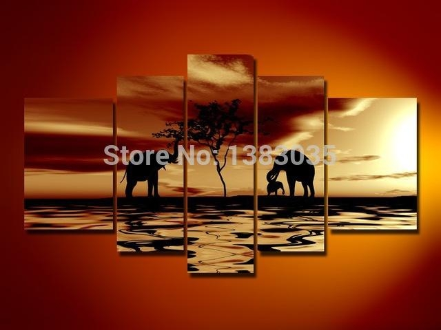 Hand Painted Abstract Landscape Wall Art 5 Piece African Elephant Inside Abstract Landscape Wall Art (Image 13 of 20)