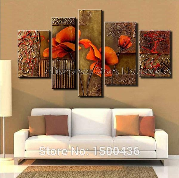 Hand Painted Abstract Orange Flowers Canvas Painting Oil Modern 5 With Regard To Abstract Orange Wall Art (Image 7 of 20)