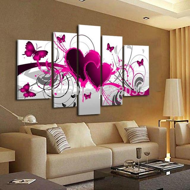 Hand Painted Abstract Pink Canvas Painting Butterfly Heart Oil Within Abstract Heart Wall Art (Image 11 of 20)