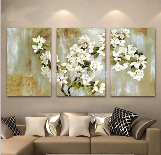 Hand Painted Abstract White Floral Picture Wall Flower Oil Regarding Canvas Wall Art Of Flowers (Photo 1 of 20)