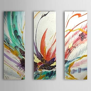 Hand Painted Abstractmodern Traditional Three Panels Canvas Oil With Regard To Ottawa Abstract Wall Art (View 15 of 20)