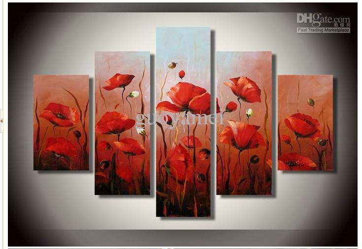 Hand Painted Artwork The Bright Red Flowers Wall Decor Landscape Regarding Canvas Wall Art In Red (Image 10 of 20)