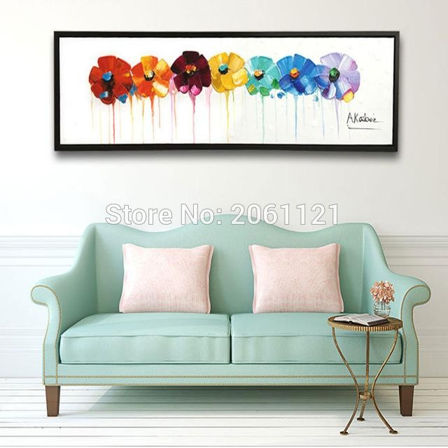 Hand Painted Large Long Wall Oil Paintings Modern Abstract Floral Inside Abstract Floral Canvas Wall Art (Image 14 of 20)