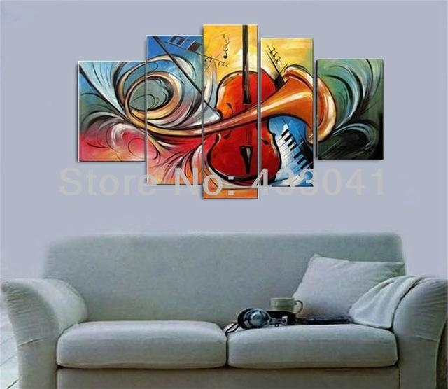Hand Painted Modern Abstract 5 Piece Set Guitar Speaker Piano For Abstract Piano Wall Art (Image 12 of 20)