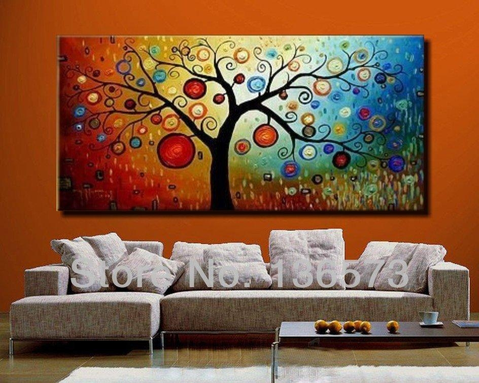 Hand Painted Modern Abstract Money Tree Canvas Wall Art Oil Within Modern Abstract Huge Oil Painting Wall Art (Image 10 of 20)