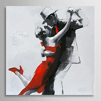 Hand Painted Modern Abstract Oil Painting People Couple Dancing In Dance Canvas Wall Art (Image 12 of 20)