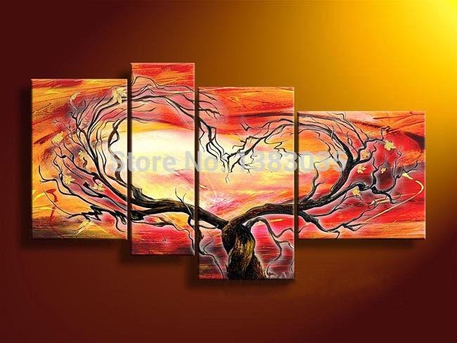 Hand Painted Modern Abstract Oil Paintings On Canvas 4 Piece Heart Regarding Abstract Heart Wall Art (Image 12 of 20)