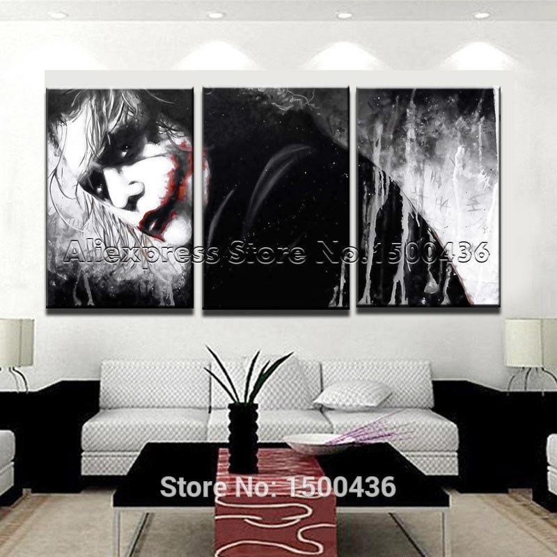 Hand Painted Modern Cartoon Portrait Painting Oil 3Pcs Joker In With Regard To Portrait Canvas Wall Art (Image 9 of 20)