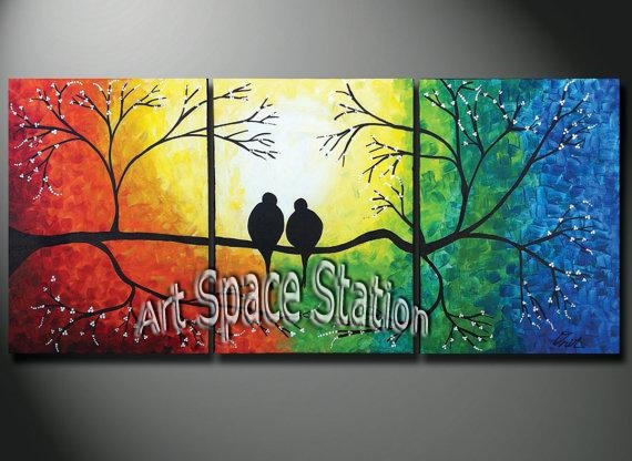 Hand Painted Natural Scenery Painting Tree Of Life,rainbow Love Regarding Rainbow Canvas Wall Art (View 7 of 20)