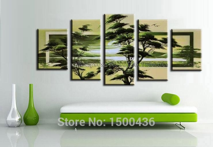 Hand Painted Night Moon Tree Oil Paintings Landscape Canvas Brown In Green Abstract Wall Art (View 20 of 20)