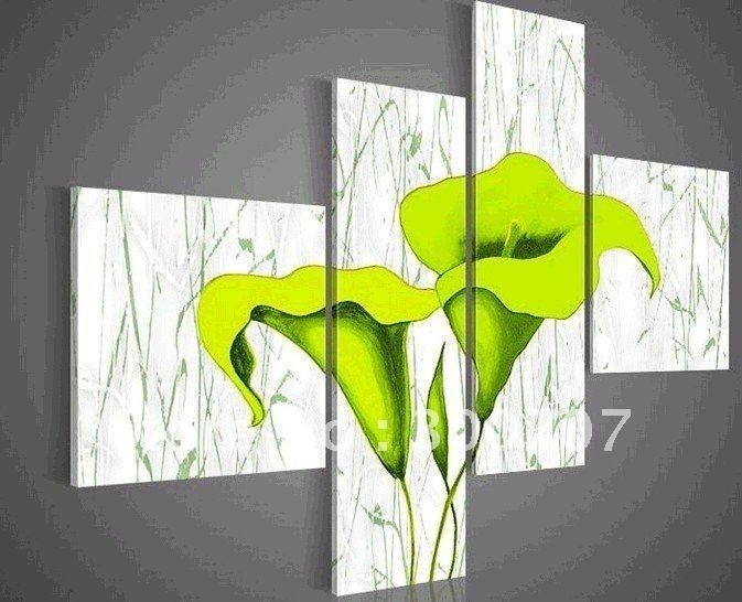 Hand Painted Oil Wall Art Pale Green Beautiful Flowers Decoration Regarding Green Abstract Wall Art (Image 12 of 20)