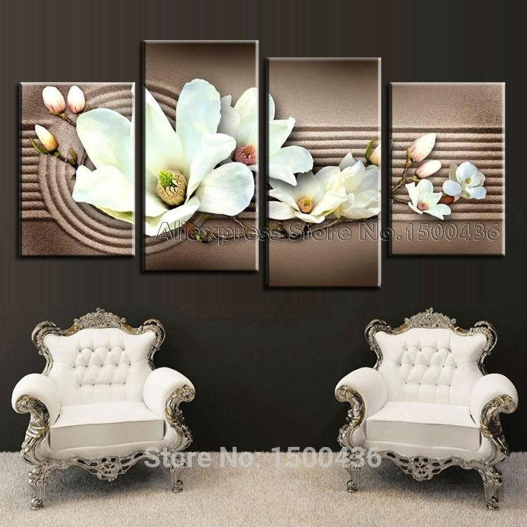 Hand Painted Realist Pink Flowers Oil Painting Modern 3 Panel In Orchid Canvas Wall Art (View 15 of 20)