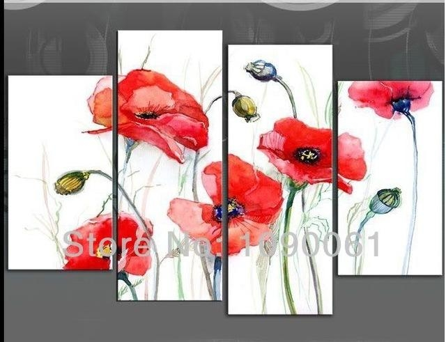 Hand Painted Red Poppies Flowers And Fruits Oil Paintings Modern 4 With Poppies Canvas Wall Art (Photo 1 of 20)