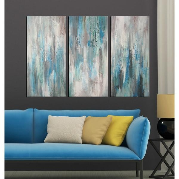 Hand Painted 'sea Of Clarity' 3 Piece Gallery Wrapped Canvas Art Throughout Overstock Abstract Wall Art (Image 10 of 20)