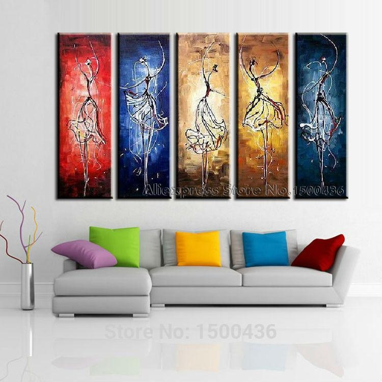Hand Painted Space Dance Painting Canvas Wall Art Modern Abstract Inside Dance Canvas Wall Art (Image 13 of 20)