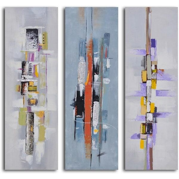 """Hand Painted """"urban Abstract Triptych"""" Canvas Wall Art – Free With Regard To Joval Canvas Wall Art (Image 9 of 20)"""