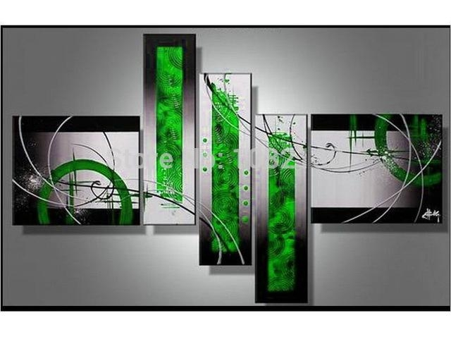 Handmade 5 Piece Black White Red Green Modern Abstract Oil Pertaining To Green Abstract Wall Art (Image 13 of 20)