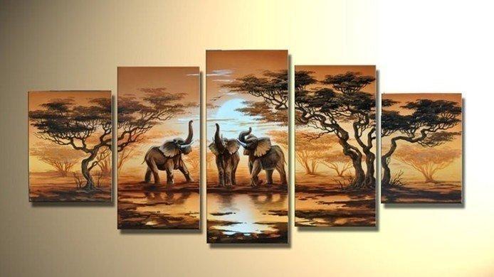 Handmade 5 Piece Modern Decorative Oil Painting On Canvas Wall Art Inside Safari Canvas Wall Art (View 7 of 20)