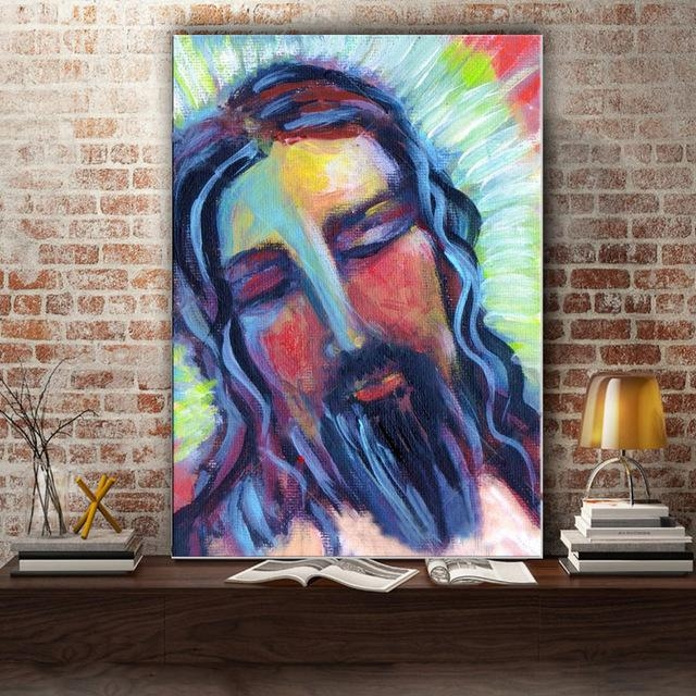 Handmade Impression Jesus Canvas Painting Abstract Jesus Figure With Regard To Jesus Canvas Wall Art (Image 10 of 20)