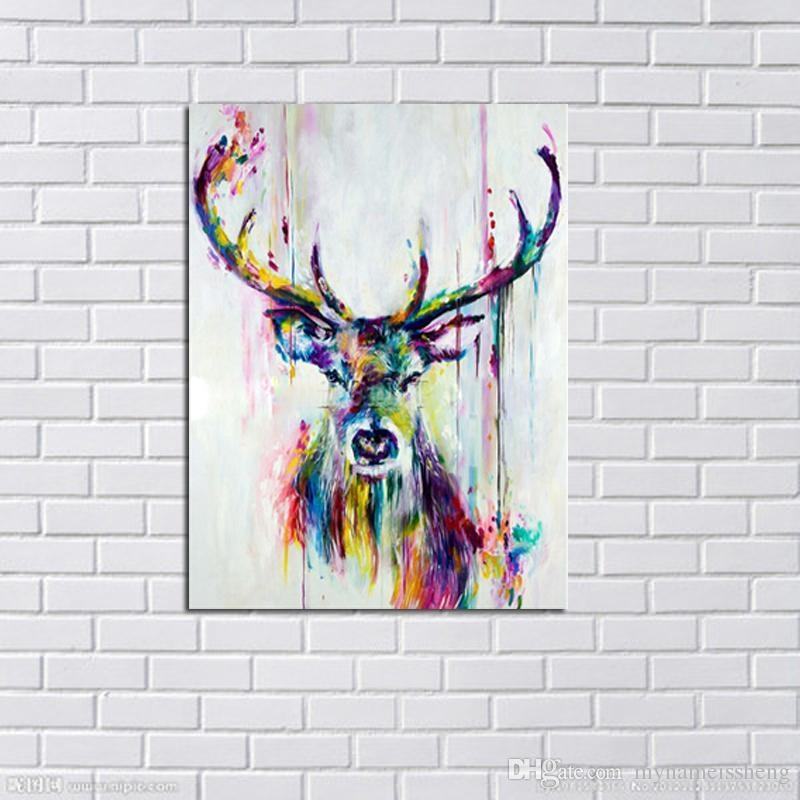 Handmade Modern Abstract Decorative Colorful Elk Oil Painting On With Regard To Deer Canvas Wall Art (View 14 of 20)