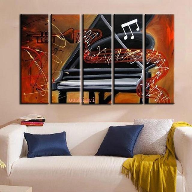 Handmade Picture On Canvas Abstract Music Oil Painting No Frame Inside Abstract Piano Wall Art (Image 14 of 20)