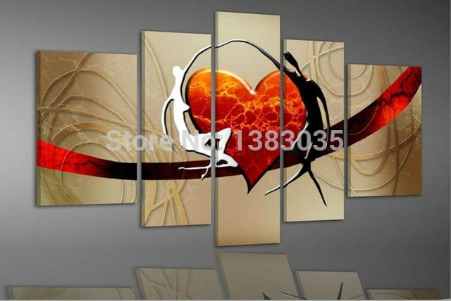 Handmade With Love Wall Painting On Canvas 5 Piece Abstract Heart Inside Abstract Heart Wall Art (Image 14 of 20)