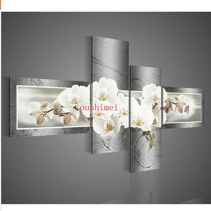 Handpainted 4Pcs Wall Art Grey Painting Modern Handmade Abstract With Orchid Canvas Wall Art (Image 12 of 20)