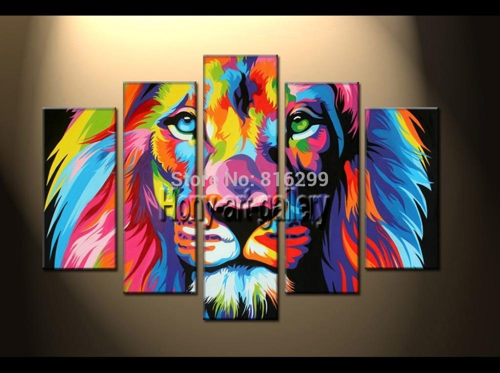 Handpainted Framed 5 Panels Modern Animal Oil Painting On Canvas With Lion King Canvas Wall Art (Image 11 of 20)