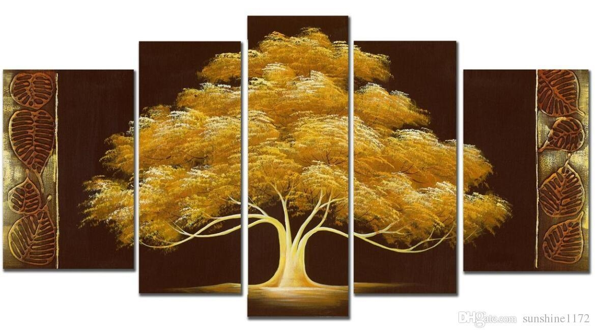 Handpainted Money Tree Oil Paint 5Panels Goldentree Modern Canvas Within Hand Painted Canvas Wall Art (Image 8 of 20)