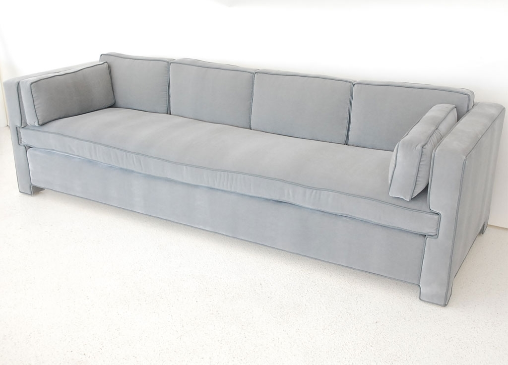 Handsome Tailored Single Cushion Sofa In Mohair And Leather Inside One Cushion Sofas (Image 3 of 10)