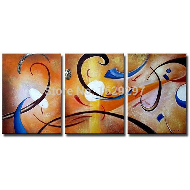 Happiness Abstract Oil On Canvas Set Of 3 Hand Painted Oil With Happiness Abstract Wall Art (Image 15 of 20)