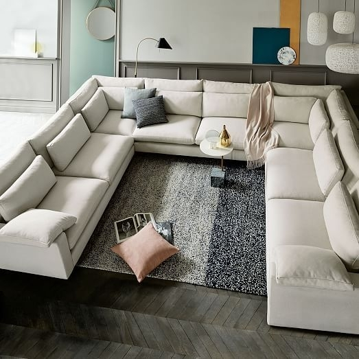 Harmony Down Filled U Shaped Sectional | Granite, Corner And Arms Regarding Gray U Shaped Sectionals (Image 2 of 10)