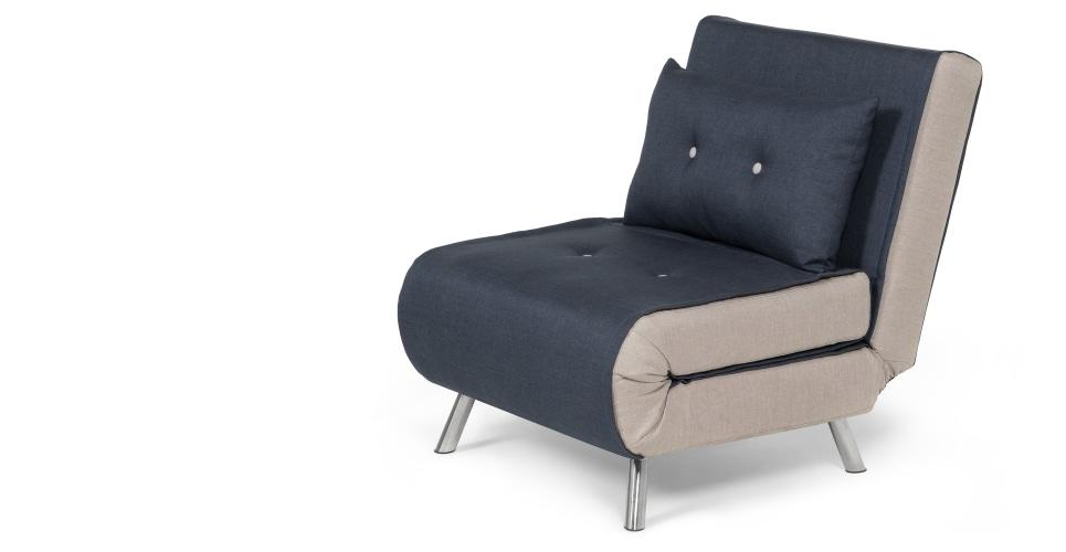 Haru Single Sofa Bed, Quartz Blue | Made With Regard To Single Seat Sofa Chairs (Image 2 of 10)