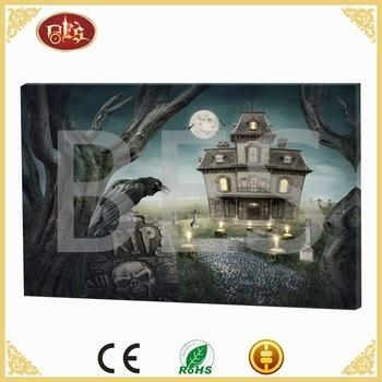 Haunted House Led Canvas Wall Art Halloween Decorations – Buy Led Pertaining To Halloween Led Canvas Wall Art (Image 14 of 20)