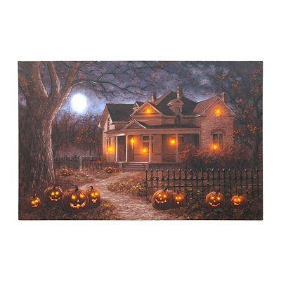 Haunted House Lighted Up Led Canvas Wall Art Halloween Https://www Pertaining To Halloween Led Canvas Wall Art (Photo 4 of 20)