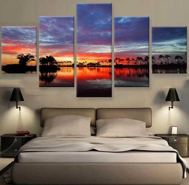 Hawaii Sunset Hd Print Canvas Painting Wall Art 5 Pieces Prints With Regard To Hawaii Canvas Wall Art (Image 9 of 20)