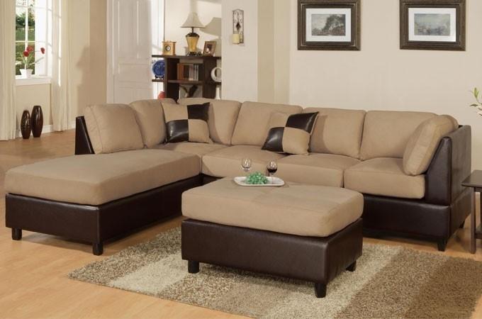 Hazelnut Beige Microfiber Sectional Sofa F7619 Lowest Price – Sofa Throughout Beige Sectional Sofas (Photo 8 of 10)