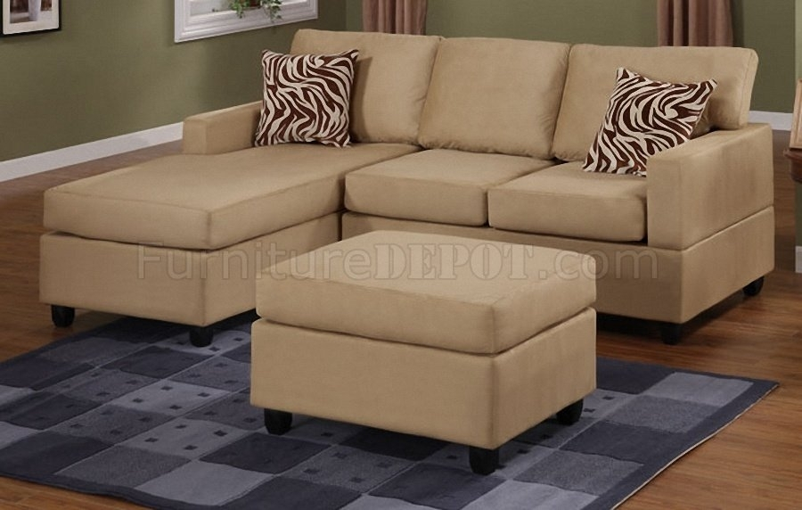 Hazelnut Plush Microfiber Casual Small Sectional Sofa W/ottoman For Small Sectional Sofas With Chaise And Ottoman (Image 7 of 10)