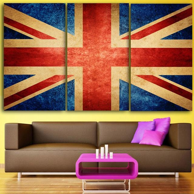 Hd 3 Piece Canvas Wall Art Printed Union Jack Prints Uk Flag For Union Jack Canvas Wall Art (View 5 of 20)